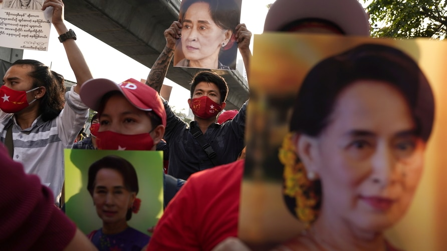 Protest in front of embassy after Myanmar's military seized power, in Bangkok