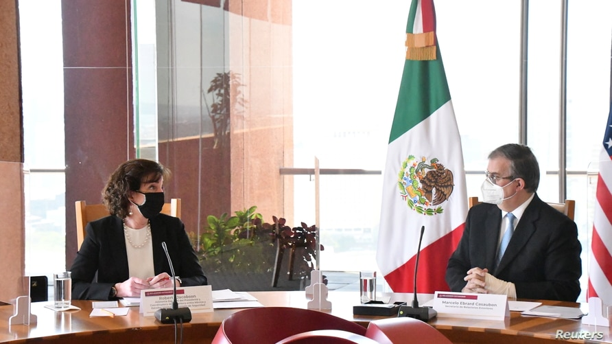 White House border coordinator Roberta Jacobson and Mexican Foreign Minister Marcelo Ebrard hold a meeting in Mexico City