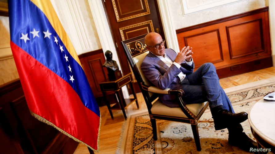Jorge Rodriguez, head of Venezuela's National Assembly, talks with Reuters in Caracas