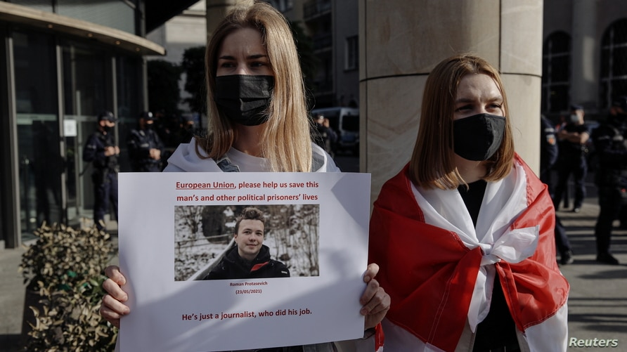 Protest against detention of Belarusian blogger Protasevich, in Warsaw