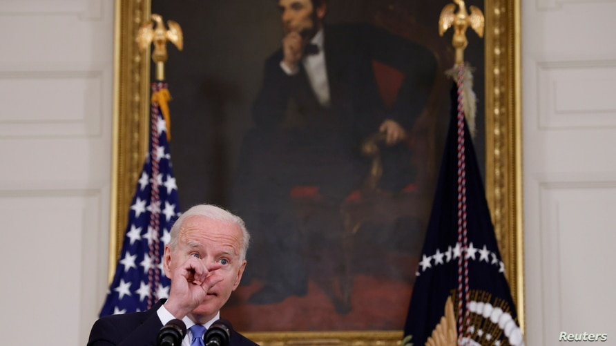 U.S. President Biden delivers remarks on the state of his American Rescue Plan at the White House in Washington