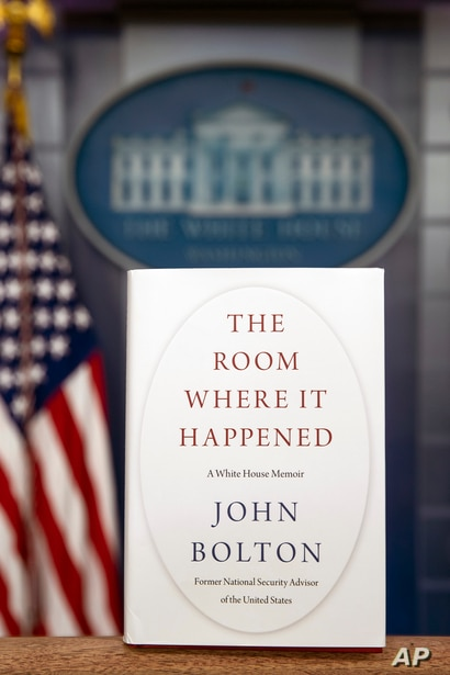 "A copy of ""The Room Where It Happened,"" by former national security adviser John Bolton, is photographed at the White House,…"