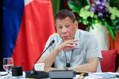 In this photo provided by the Malacanang Presidential Photographers Division, Philippine President Rodrigo Duterte talks at the…