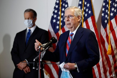 Senate Majority Leader Mitch McConnell of Ky., speaks at a news conference on Capitol Hill in Washington, Tuesday, May 12, 2020…