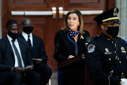 House Speaker Nancy Pelosi of Calif., speaks during a service for the late Rep. John Lewis, D-Ga., a key figure in the civil…