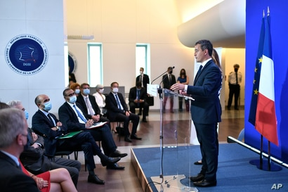 French Interior Minister Gerald Darmanin delivers a speech on the state of terrorism threat at the French General Directorate…