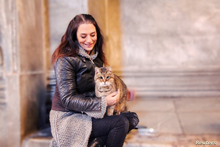 Umut Bahceci, a Turkish tour guide who runs an Instagram account for Gli, poses with Gli the cat of Hagia Sophia or Ayasofya in…