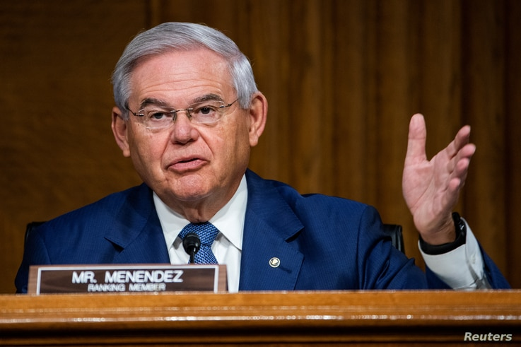 U.S. Senator Robert Menendez (D-NJ) questions Secretary of State Mike Pompeo during a Senate Foreign Relations Committee…