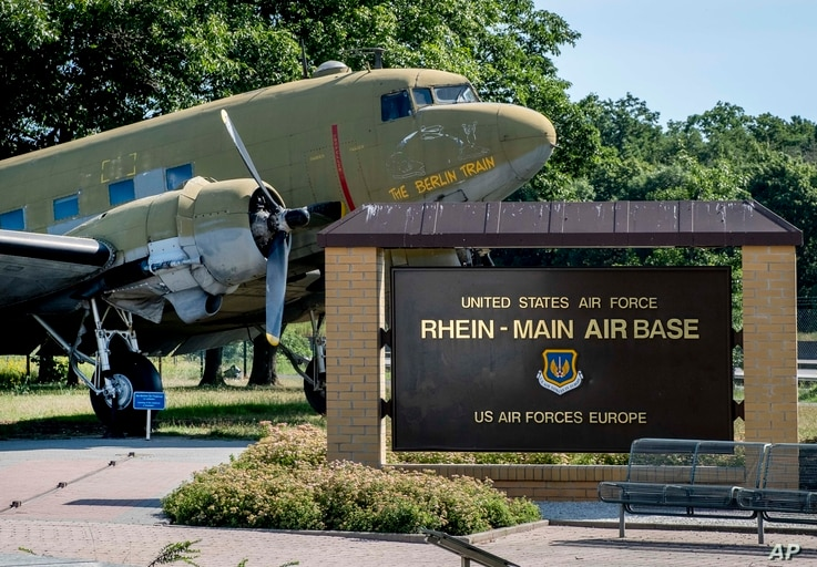 An old so called 'raisin bomber' airplane from WW II is seen at the airlift memorial at the airport in Frankfurt, Germany,…