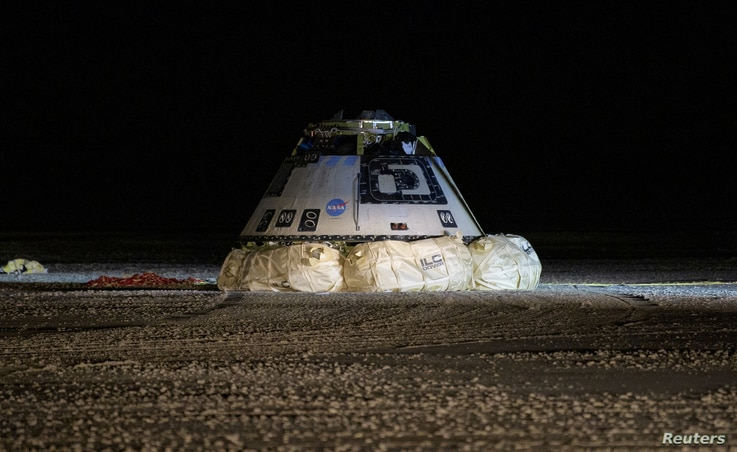 The Boeing CST-100 Starliner spacecraft, which had been launched on a United Launch Alliance Atlas V rocket, is seen after its…