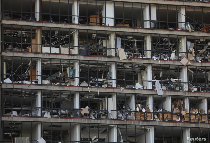 A view shows the damaged facade of a building following Tuesday's blast in Beirut's port area, Lebanon August 5, 2020. REUTERS…