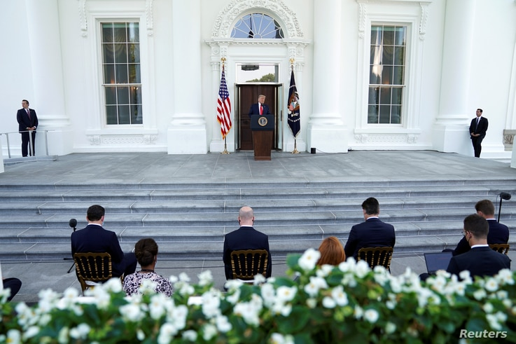 U.S. President Donald Trump delivers remarks at the North Portico of the White House in Washington, U.S., September 7, 2020…