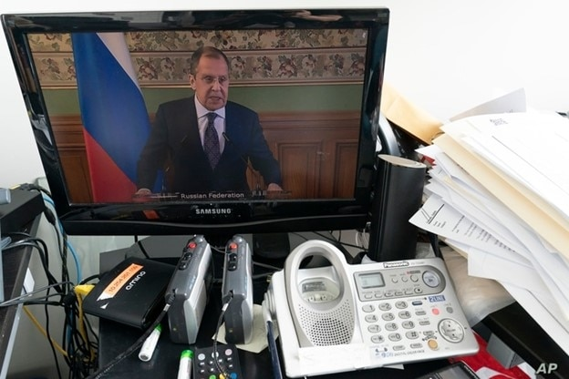 Russian Foreign Minister Sergey Lavrov is seen on a computer monitor at U.N. headquarters as he speaks during the 75th session of the U.N. General Assembly, Sept. 24, 2020.