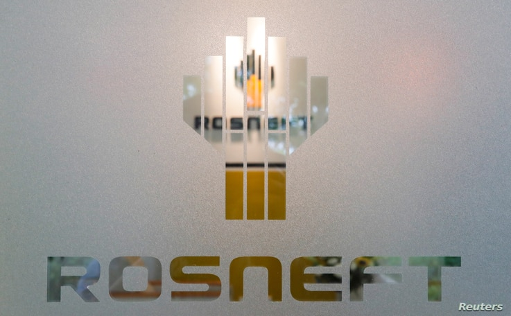 The logo of Russia's oil company Rosneft is pictured at the Rosneft Vietnam office in Ho Chi Minh City, Vietnam April 26, 2018…