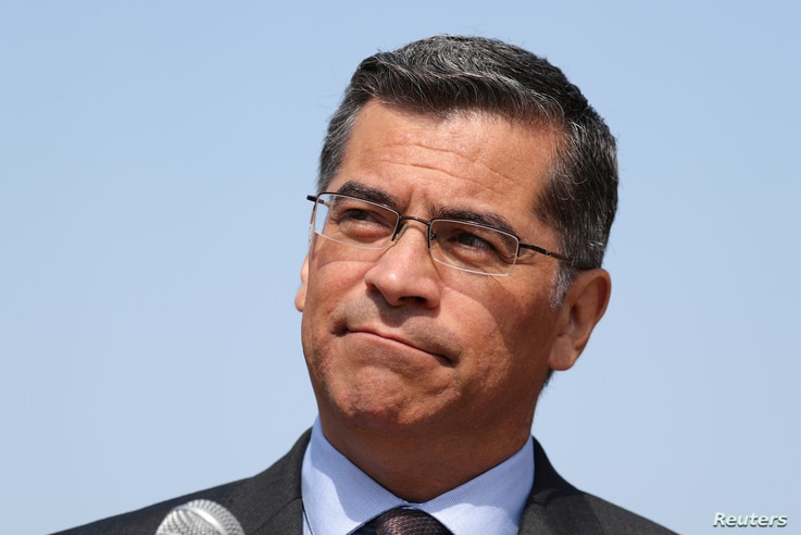 FILE PHOTO: California Attorney General Xavier Becerra speaks at a media conference in Los Angeles, California, U.S. August 2,…