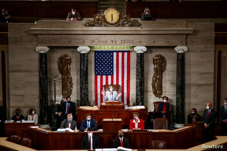 Speaker of the House Nancy Pelosi (D-CA) speaks during the first session of the 117th Congress in the House Chamber at the U.S…