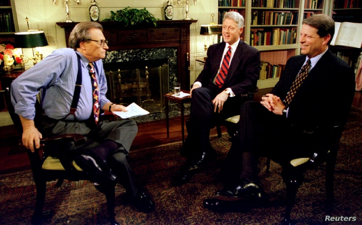 FILE PHOTO: President Clinton and Vice-President Al Gore are interviewed by Larry King June 5 at the White House. Clinton said…