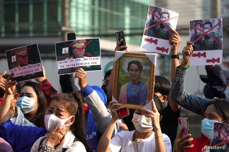NLD supporters rally outside Myanmar's embassy after the military seized power from a democratically elected civilian…