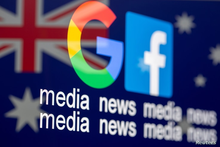 "Google and Facebook logos, words ""media, news, media"" and Australian flag are displayed in this illustration taken, February 18…"