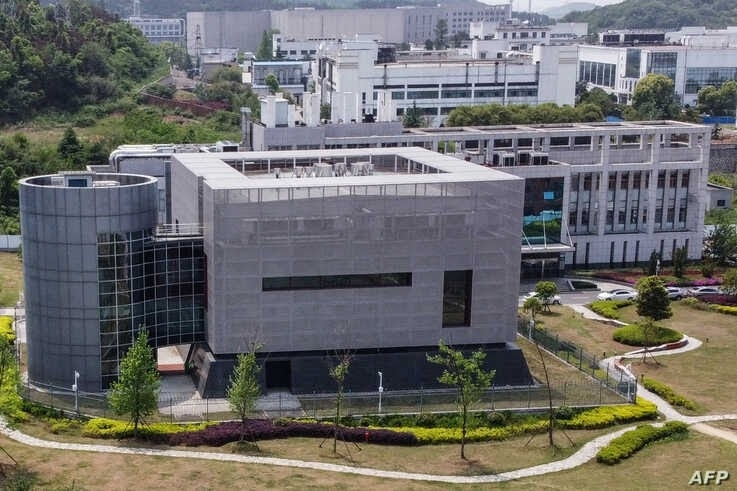 (FILES) In this file photo taken on April 17, 2020, an aerial view shows the P4 laboratory at the Wuhan Institute of Virology…