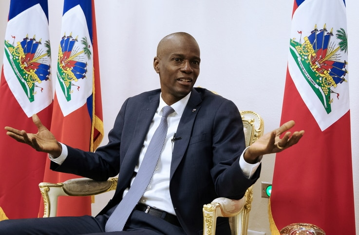 FILE PHOTO: Haiti's President Jovenel Moise speaks during an interview with Reuters at the National Palace of Port-au-Prince,…