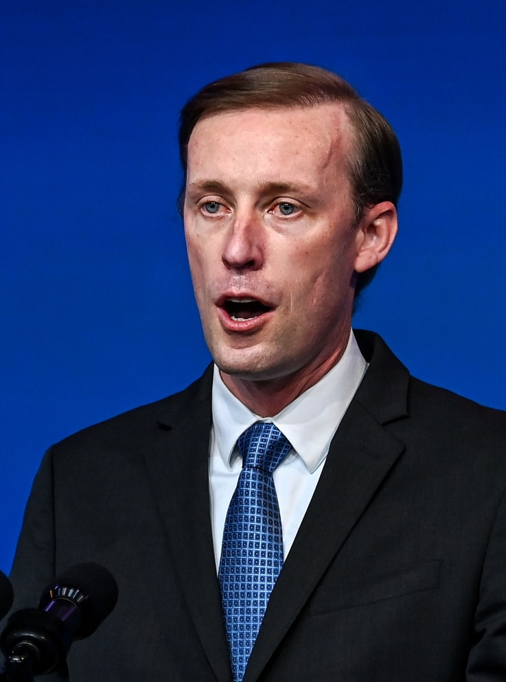 (FILES) In this file photo nominated National Security Advisor Jake Sullivan speaks during a cabinet announcement event in…