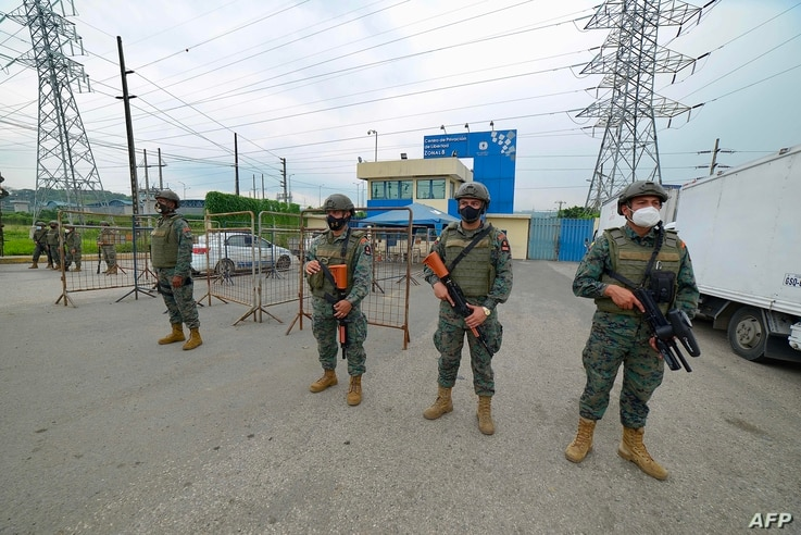 Members of the Ecuadorian Marine Force guard the Zone 8 Deprivation of Liberty Center in Guayaquil, Ecuador, on February 23,…