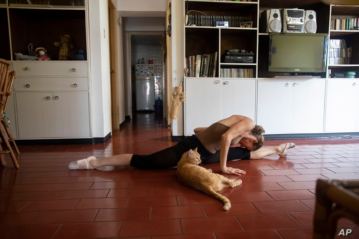 Carolina Wolf, who dances with Venezuela's national ballet, stretches at the end of her training session in her living room,…