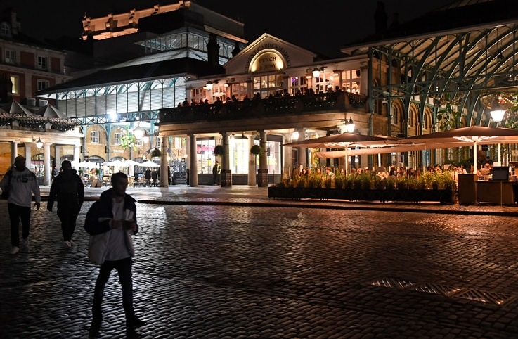 A view across a sparsely crowded Covent Garden in central London, Saturday, Oct. 31, 2020. Earlier Saturday British Prime…