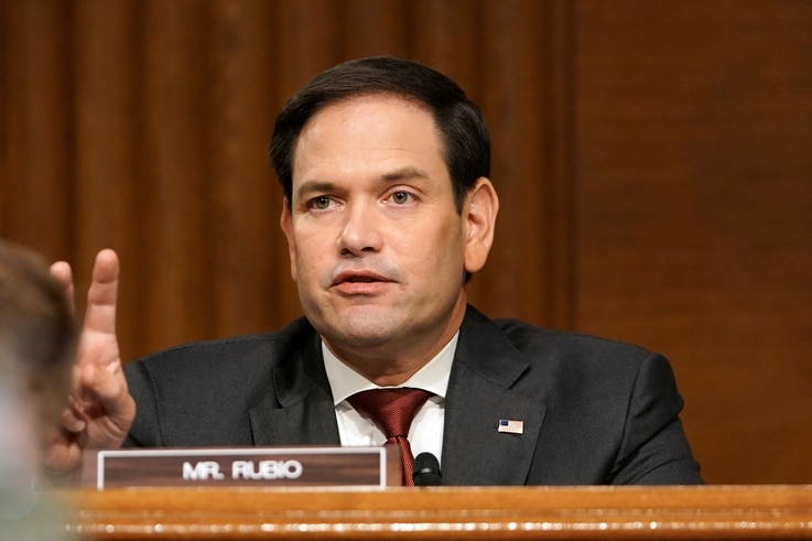 Sen. Marco Rubio, R-Fla., asks a question to Secretary of State Mike Pompeo during a Senate Foreign Relations committee hearing…