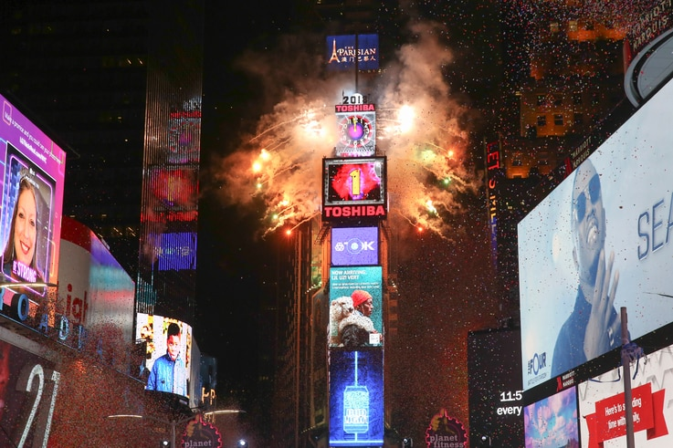 The ball drops during the New Year's Eve celebration in Times Square on Sunday, Dec. 31, 2017, in New York. (Photo by Brent N…