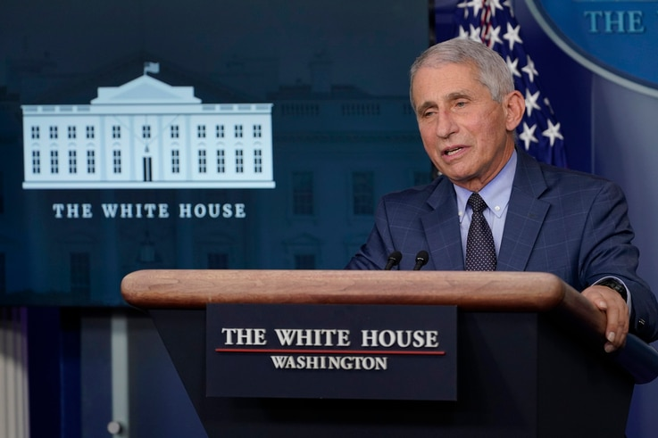 FILE - In this Nov. 19, 2020 file photo Dr. Anthony Fauci, director of the National Institute of Allergy and Infectious…