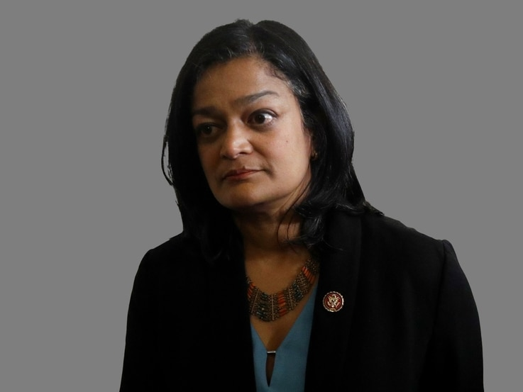 Pramila Jayapal headshot, as US Representative of Washington, graphic element on gray