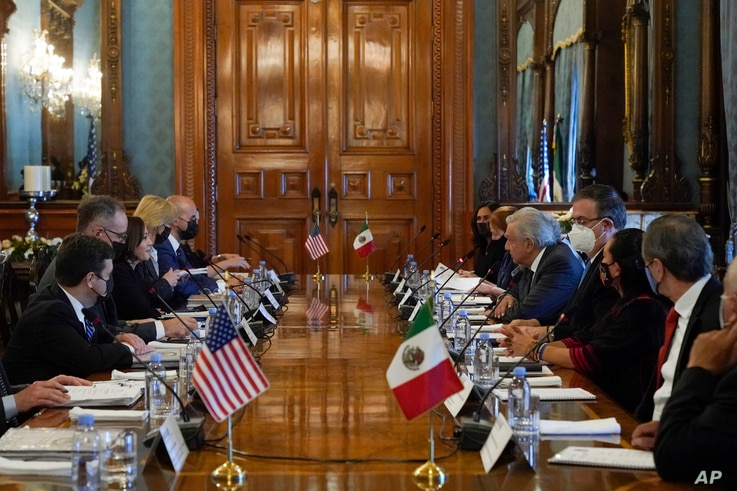 Vice President Kamala Harris and Mexican President Andres Manuel Lopez Obrador attend a bilateral meeting Tuesday, June 8, 2021…