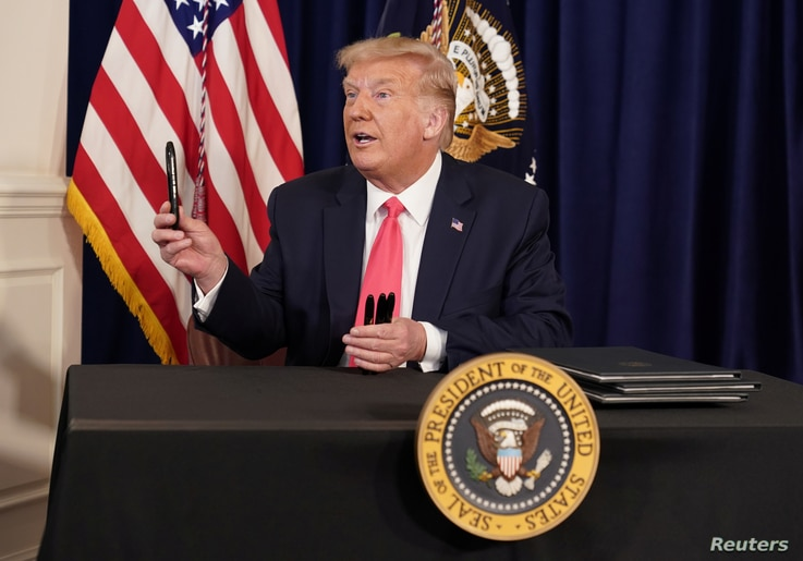 U.S. President Donald Trump holds a news conference at his golf resort in Bedminster