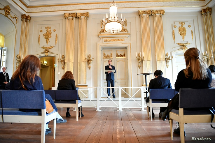 Announcement of the 2020 Nobel Prize in literature at Borshuset in Stockholm