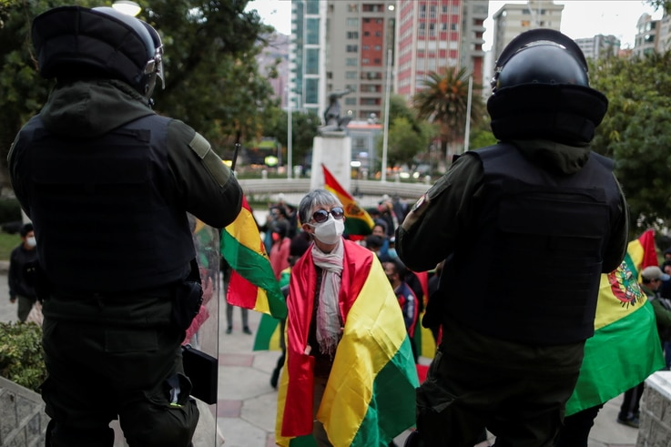 Demonstrators take part in a protest against the President-elect of Bolivia, Luis Arce, alleging a supposed fraud in general elections, in La Paz