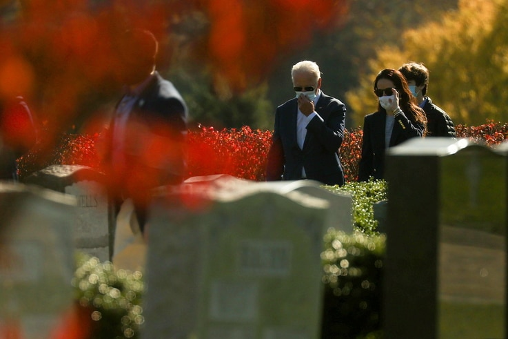 U.S. President-elect Biden visits family graves after attending a Sunday morning church service in Wilmington, Delaware