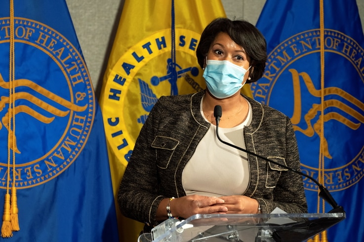 District of Columbia Mayor Muriel Bowser speaks during a news conference about the COVID-19 vaccine at George Washington University Hospital in Washington